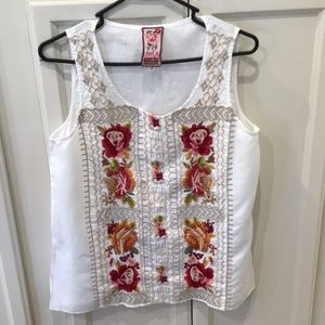 Johnny Was Linen JWLA Embroidered  Sleeveless Top